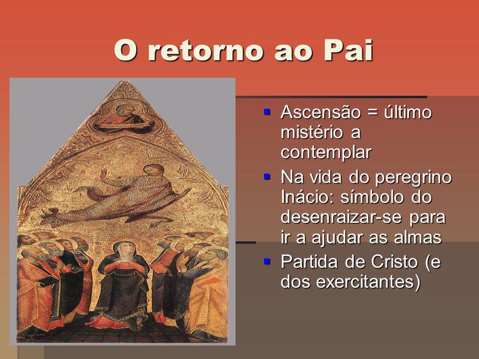 O retorno ao Pai Ascensão = último mistério a contemplar Ascensão = último mistério a contemplar Na vida do peregrino Inácio: símbolo do desenraizar-s