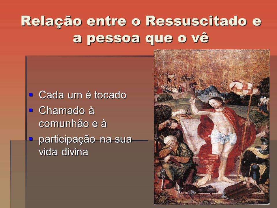 Relação entre o Ressuscitado e a pessoa que o vê Cada um é tocado Cada um é tocado Chamado à comunhão e à Chamado à comunhão e à participação na sua v