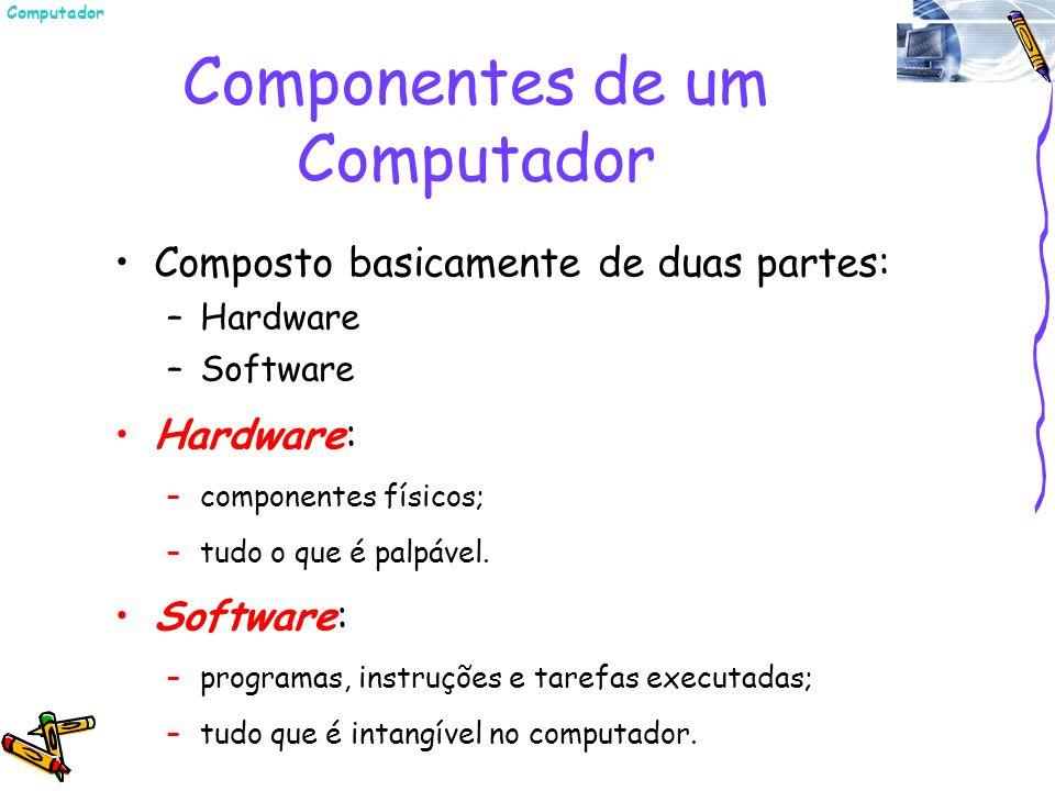 Componentes de um Computador Composto basicamente de duas partes: –Hardware –Software Hardware: –componentes físicos; –tudo o que é palpável. Software