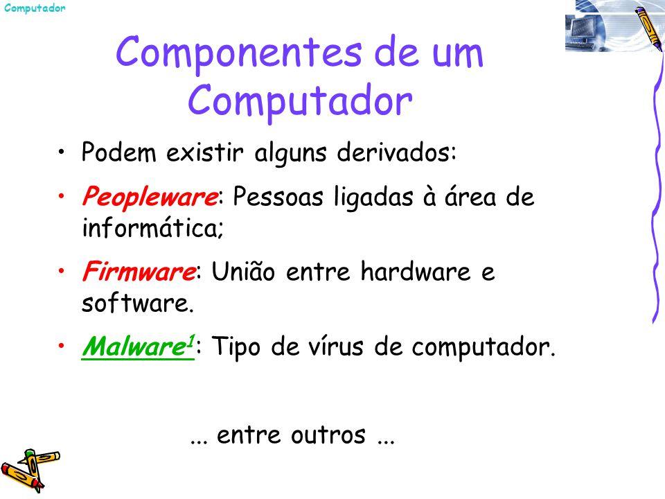 Componentes de um Computador Podem existir alguns derivados: Peopleware: Pessoas ligadas à área de informática; Firmware: União entre hardware e softw