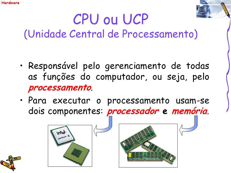 CPU ou UCP (Unidade Central de Processamento) Responsável pelo gerenciamento de todas as funções do computador, ou seja, pelo processamento. Para exec