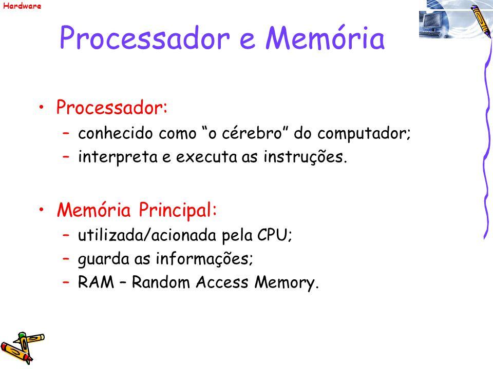 Processador e Memória Processador: –conhecido como o cérebro do computador; –interpreta e executa as instruções. Memória Principal: –utilizada/acionad