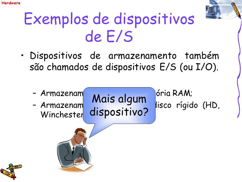 Exemplos de dispositivos de E/S Dispositivos de armazenamento também são chamados de dispositivos E/S (ou I/O). –Armazenamento primário: memória RAM;
