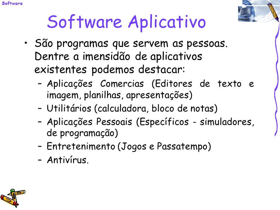 Software Aplicativo São programas que servem as pessoas. Dentre a imensidão de aplicativos existentes podemos destacar: –Aplicações Comercias (Editore