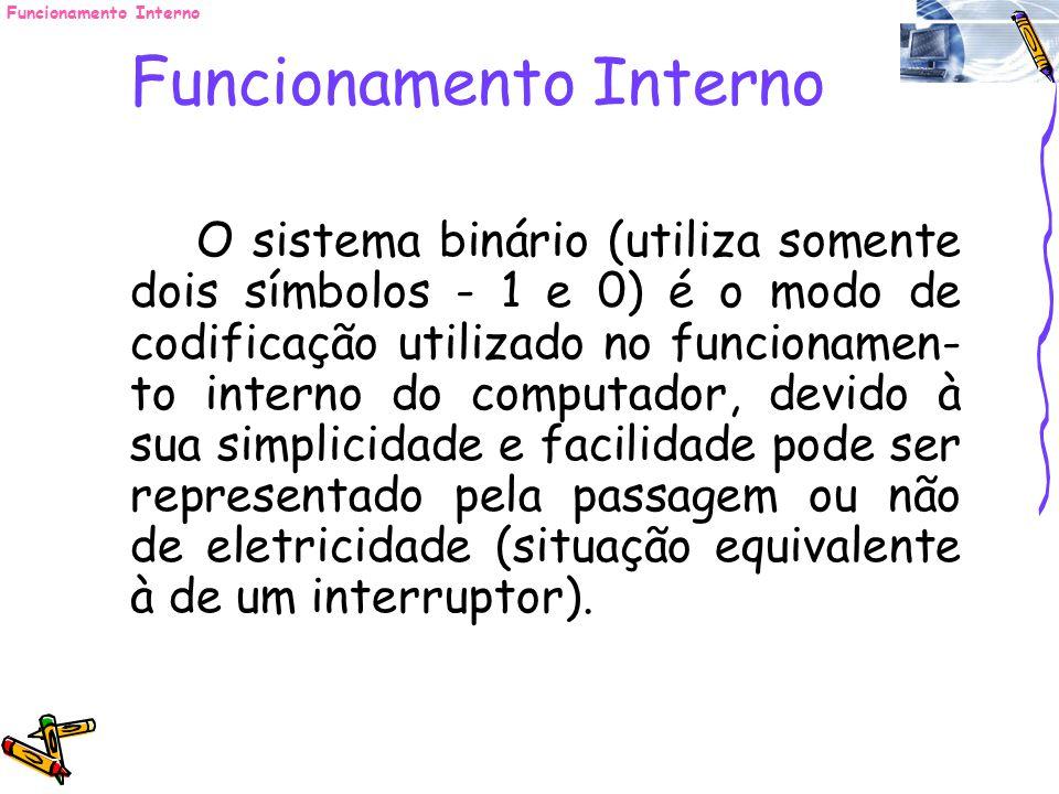 Funcionamento Interno O sistema binário (utiliza somente dois símbolos - 1 e 0) é o modo de codificação utilizado no funcionamen- to interno do comput