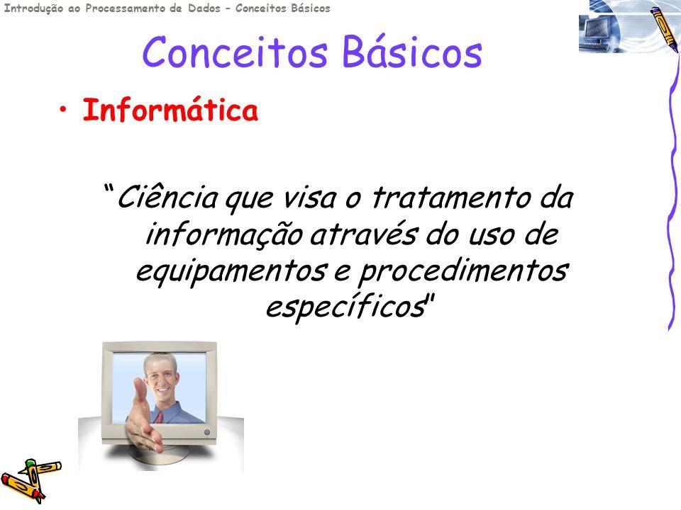 Conceitos Básicos Informática Ciência que visa o tratamento da informação através do uso de equipamentos e procedimentos específicos Introdução ao Pro