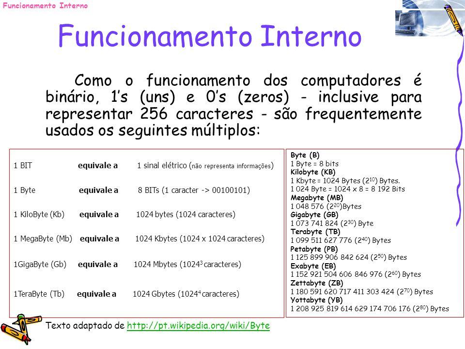 Como o funcionamento dos computadores é binário, 1s (uns) e 0s (zeros) - inclusive para representar 256 caracteres - são frequentemente usados os segu