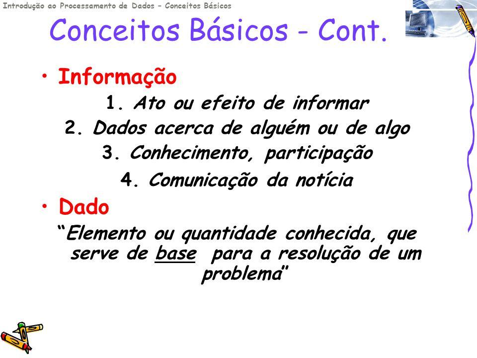 Conceitos Básicos - Cont. Informação 1. Ato ou efeito de informar 2. Dados acerca de alguém ou de algo 3. Conhecimento, participação 4. Comunicação da