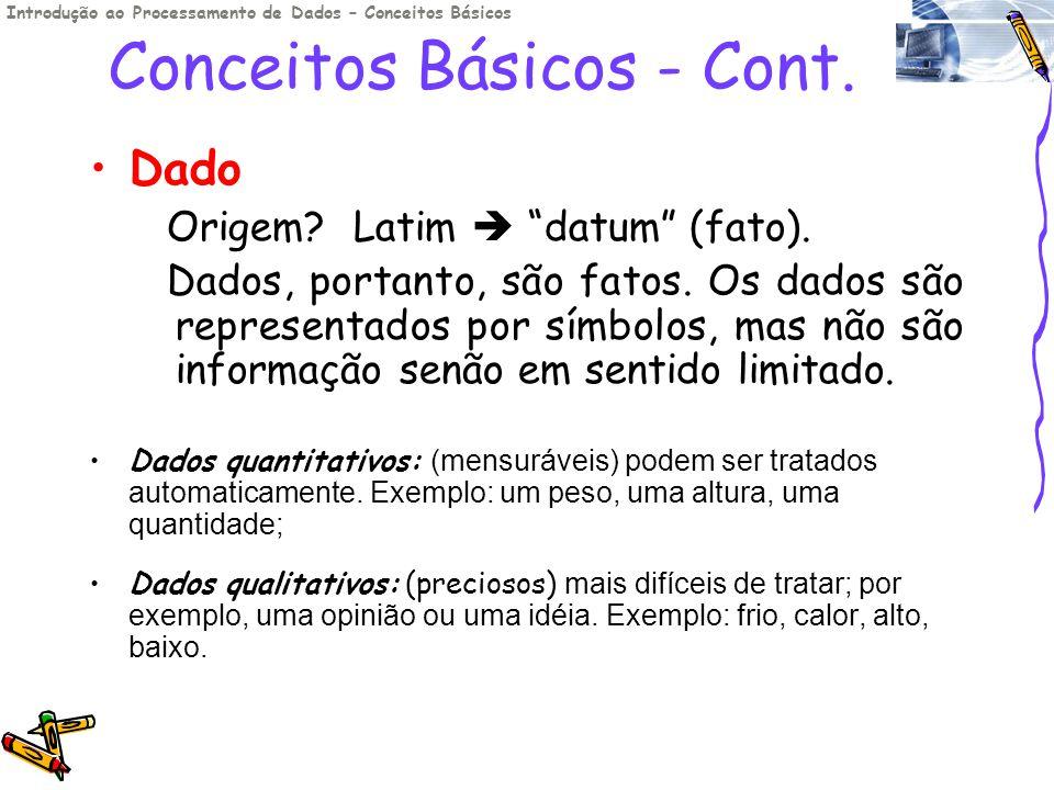 Conceitos Básicos - Cont. Dado Origem? Latim datum (fato). Dados, portanto, são fatos. Os dados são representados por símbolos, mas não são informação