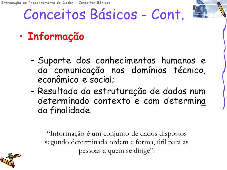 Conceitos Básicos - Cont. Informação –Suporte dos conhecimentos humanos e da comunicação nos domínios técnico, econômico e social; –Resultado da estru