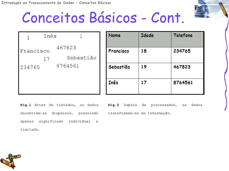 Conceitos Básicos - Cont. Introdução ao Processamento de Dados – Conceitos Básicos NomeIdadeTelefone Francisco18234765 Sebastião19467823 Inês178764561