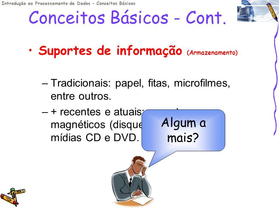 Conceitos Básicos - Cont. Suportes de informação (Armazenamento) –Tradicionais: papel, fitas, microfilmes, entre outros. –+ recentes e atuais: suporte