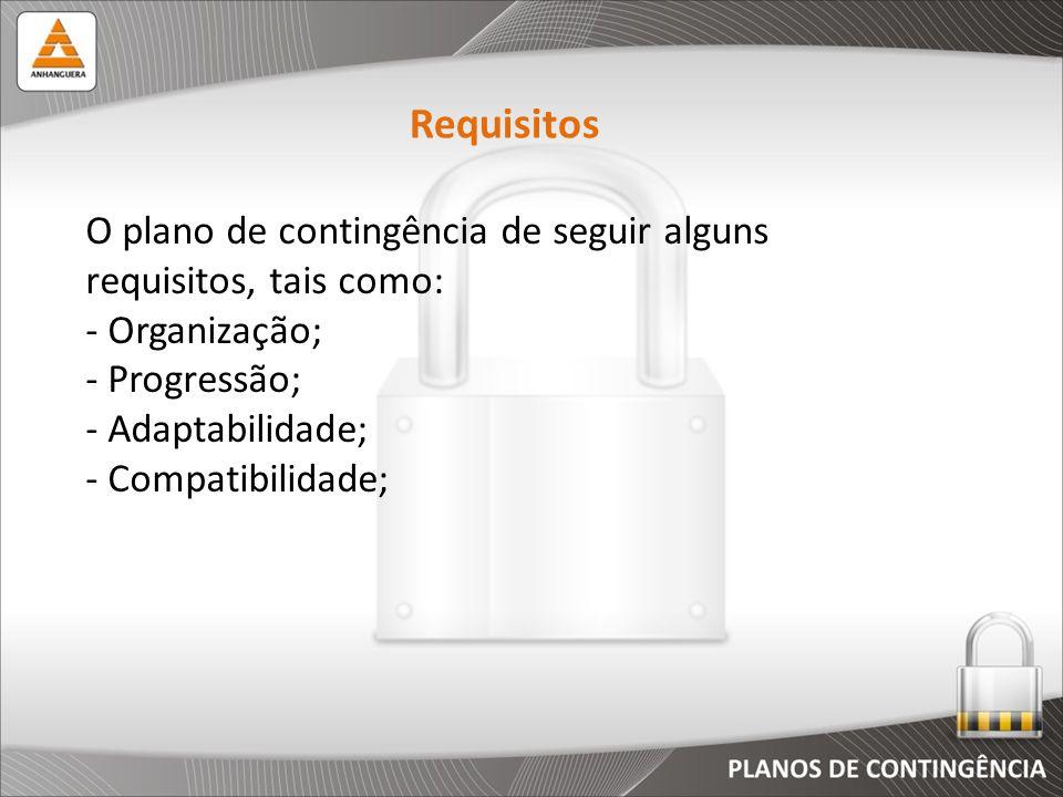 O plano de contingência de seguir alguns requisitos, tais como: - Organização; - Progressão; - Adaptabilidade; - Compatibilidade; Requisitos