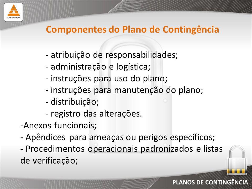 - atribuição de responsabilidades; - administração e logística; - instruções para uso do plano; - instruções para manutenção do plano; - distribuição;