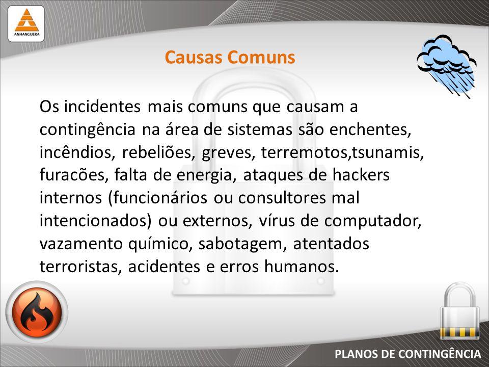 Os incidentes mais comuns que causam a contingência na área de sistemas são enchentes, incêndios, rebeliões, greves, terremotos,tsunamis, furacões, fa
