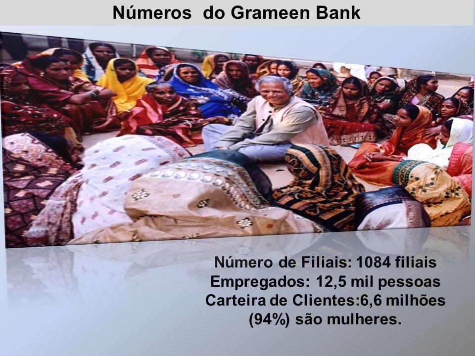 Número de Filiais: 1084 filiais Empregados: 12,5 mil pessoas Carteira de Clientes:6,6 milhões (94%) são mulheres. Números do Grameen Bank