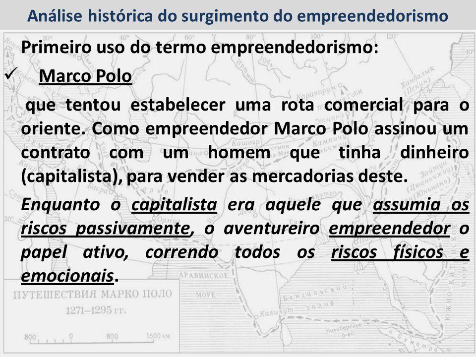 Análise histórica do surgimento do empreendedorismo Primeiro uso do termo empreendedorismo: Marco Polo que tentou estabelecer uma rota comercial para