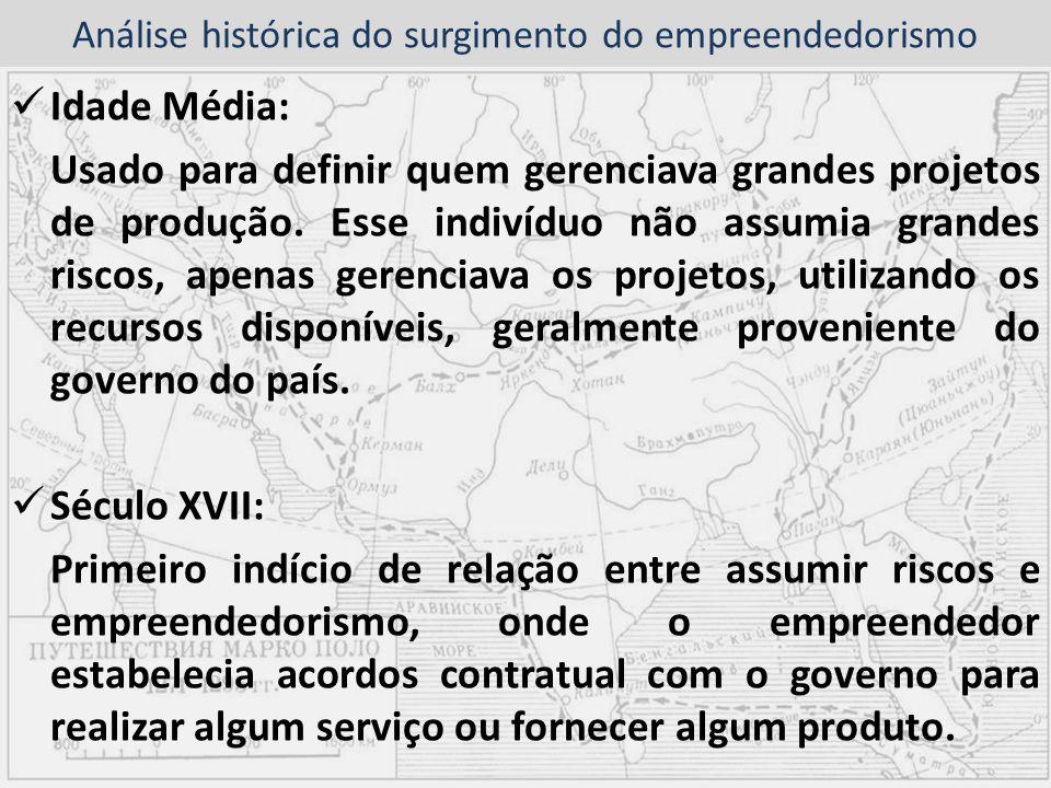 Análise histórica do surgimento do empreendedorismo Idade Média: Usado para definir quem gerenciava grandes projetos de produção. Esse indivíduo não a