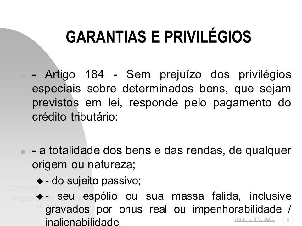 Jump to first page 23/10/2002 Regra-matriz de incidência tributária 10 GARANTIAS E PRIVILÉGIOS n - Artigo 184 - Sem prejuízo dos privilégios especiais