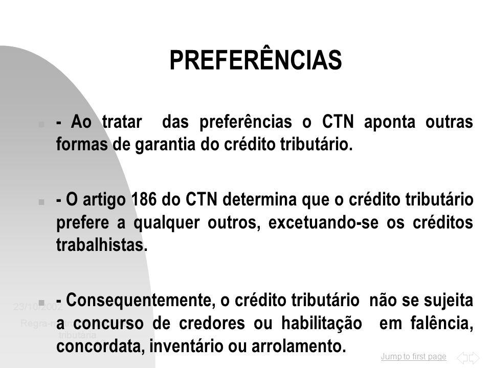 Jump to first page 23/10/2002 Regra-matriz de incidência tributária 12 PREFERÊNCIAS n - Ao tratar das preferências o CTN aponta outras formas de garan