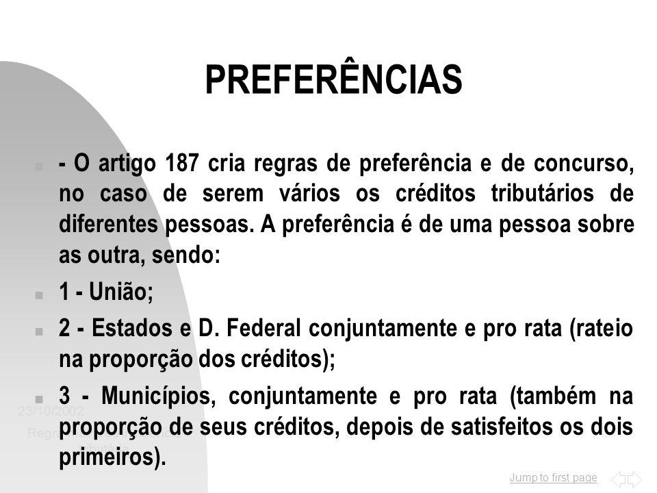 Jump to first page 23/10/2002 Regra-matriz de incidência tributária 13 PREFERÊNCIAS n - O artigo 187 cria regras de preferência e de concurso, no caso