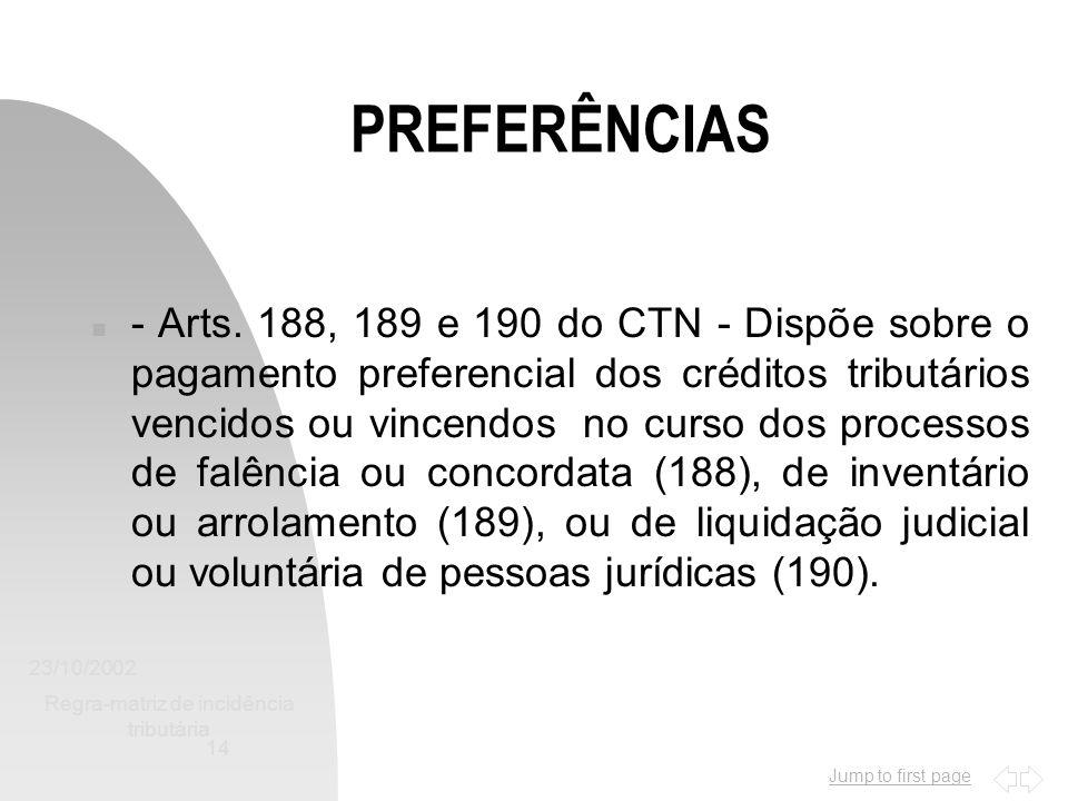 Jump to first page 23/10/2002 Regra-matriz de incidência tributária 14 PREFERÊNCIAS n - Arts. 188, 189 e 190 do CTN - Dispõe sobre o pagamento prefere