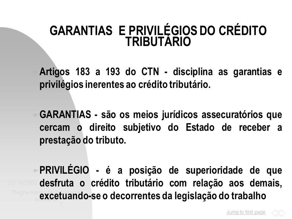 Jump to first page 23/10/2002 Regra-matriz de incidência tributária 7 GARANTIAS E PRIVILÉGIOS DO CRÉDITO TRIBUTÁRIO F Artigos 183 a 193 do CTN - disci