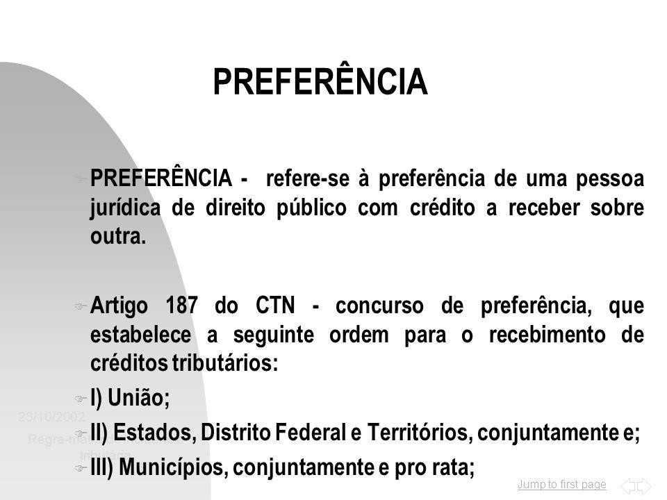 Jump to first page 23/10/2002 Regra-matriz de incidência tributária 8 F PREFERÊNCIA - refere-se à preferência de uma pessoa jurídica de direito públic