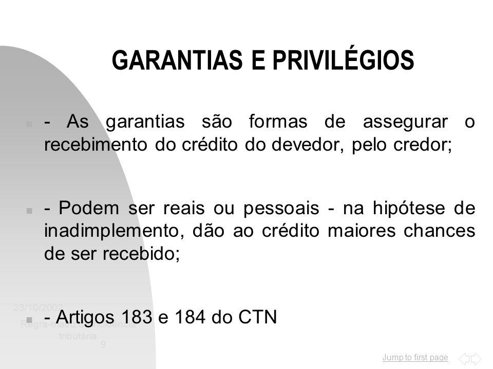 Jump to first page 23/10/2002 Regra-matriz de incidência tributária 9 GARANTIAS E PRIVILÉGIOS n - As garantias são formas de assegurar o recebimento d