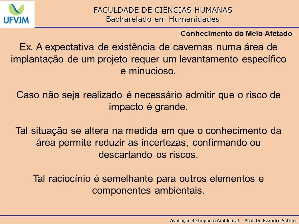 FACULDADE DE CIÊNCIAS HUMANAS Bacharelado em Humanidades Avaliação de Impacto Ambiental - Prof. Dr. Evandro Sathler Conhecimento do Meio Afetado Ex. A