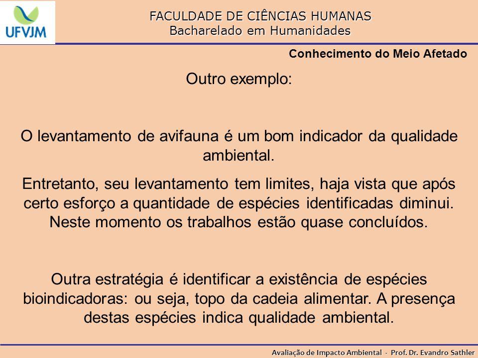 FACULDADE DE CIÊNCIAS HUMANAS Bacharelado em Humanidades Avaliação de Impacto Ambiental - Prof. Dr. Evandro Sathler Conhecimento do Meio Afetado Outro