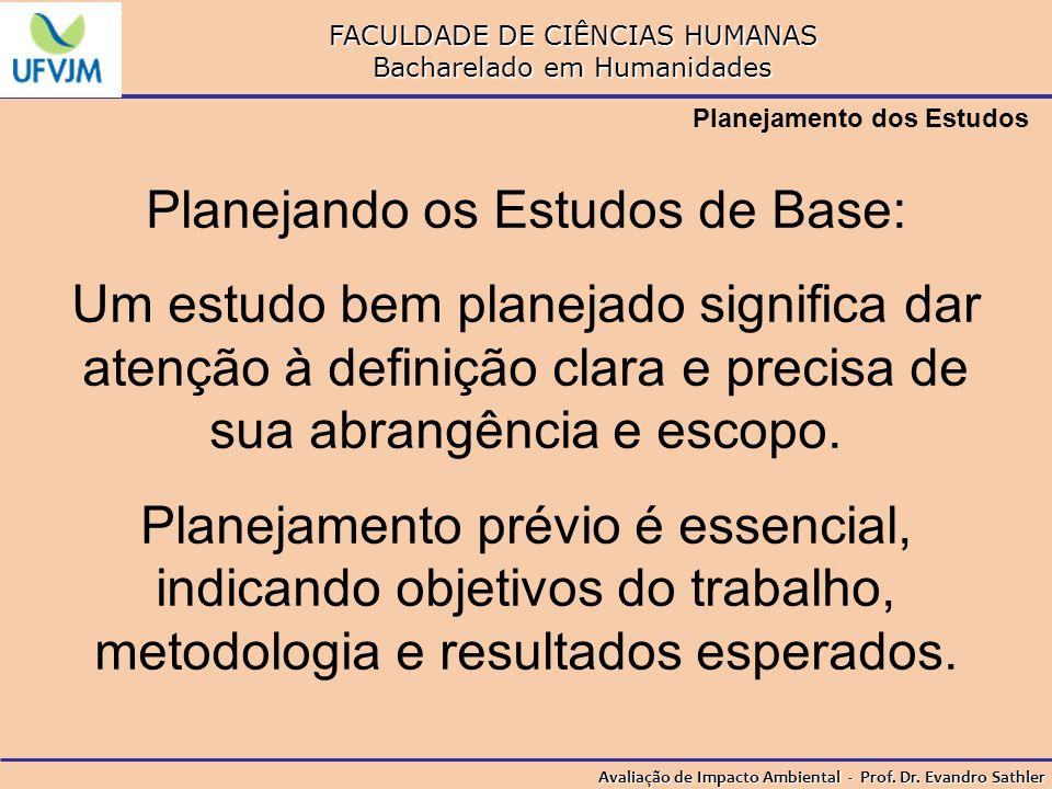 FACULDADE DE CIÊNCIAS HUMANAS Bacharelado em Humanidades Avaliação de Impacto Ambiental - Prof. Dr. Evandro Sathler Planejamento dos Estudos Planejand