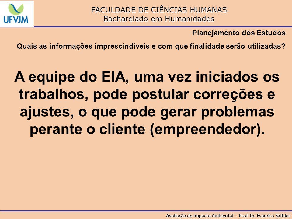 FACULDADE DE CIÊNCIAS HUMANAS Bacharelado em Humanidades Avaliação de Impacto Ambiental - Prof. Dr. Evandro Sathler Planejamento dos Estudos Quais as