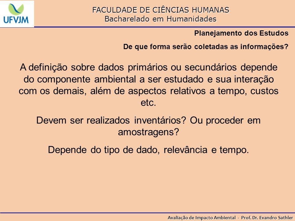 FACULDADE DE CIÊNCIAS HUMANAS Bacharelado em Humanidades Avaliação de Impacto Ambiental - Prof. Dr. Evandro Sathler Planejamento dos Estudos De que fo