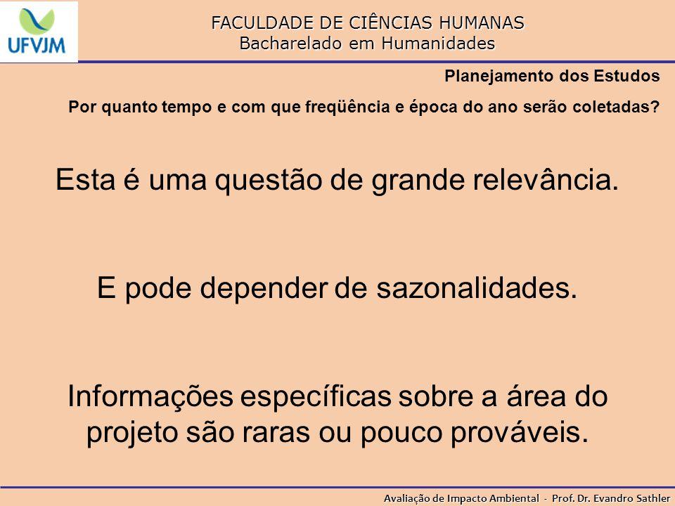 FACULDADE DE CIÊNCIAS HUMANAS Bacharelado em Humanidades Avaliação de Impacto Ambiental - Prof. Dr. Evandro Sathler Planejamento dos Estudos Por quant