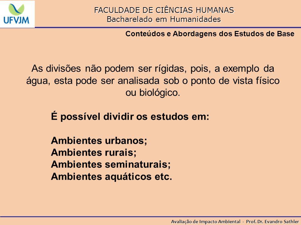 FACULDADE DE CIÊNCIAS HUMANAS Bacharelado em Humanidades Avaliação de Impacto Ambiental - Prof. Dr. Evandro Sathler Conteúdos e Abordagens dos Estudos