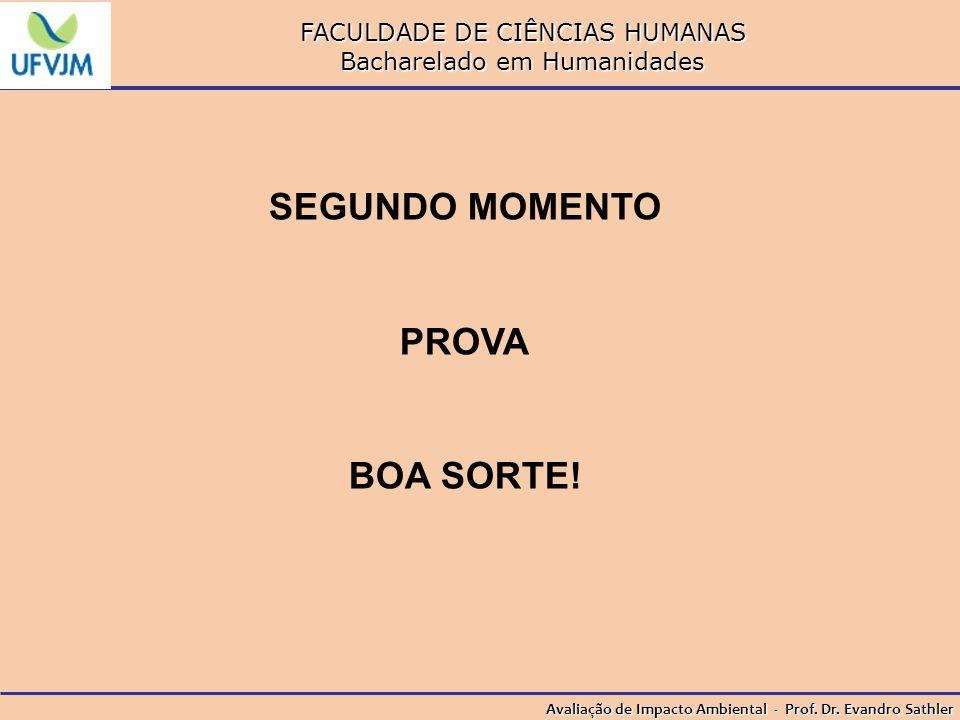 FACULDADE DE CIÊNCIAS HUMANAS Bacharelado em Humanidades Avaliação de Impacto Ambiental - Prof. Dr. Evandro Sathler SEGUNDO MOMENTO PROVA BOA SORTE!