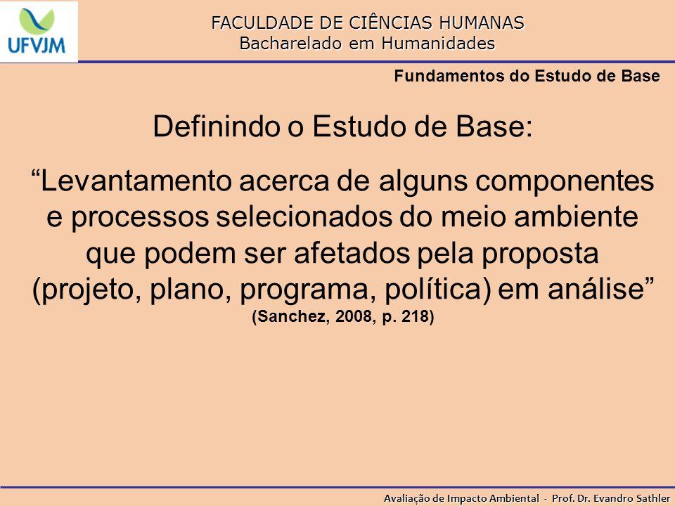 FACULDADE DE CIÊNCIAS HUMANAS Bacharelado em Humanidades Avaliação de Impacto Ambiental - Prof. Dr. Evandro Sathler Fundamentos do Estudo de Base Defi