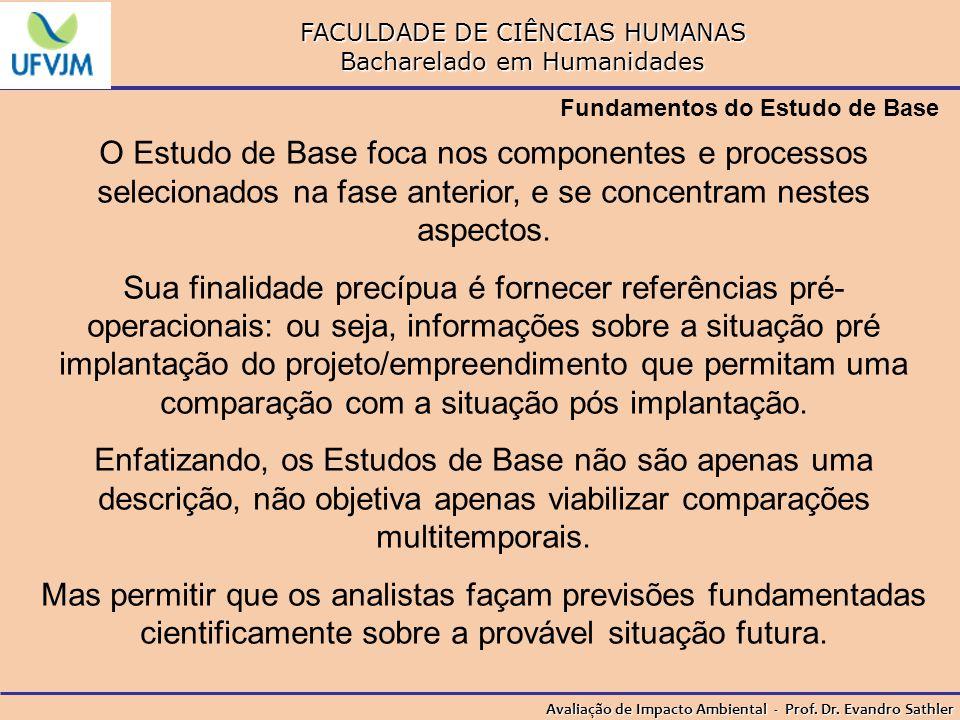 FACULDADE DE CIÊNCIAS HUMANAS Bacharelado em Humanidades Avaliação de Impacto Ambiental - Prof. Dr. Evandro Sathler Fundamentos do Estudo de Base O Es