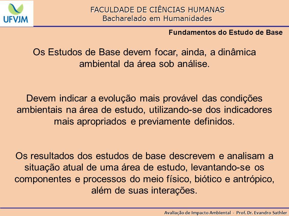 FACULDADE DE CIÊNCIAS HUMANAS Bacharelado em Humanidades Avaliação de Impacto Ambiental - Prof. Dr. Evandro Sathler Fundamentos do Estudo de Base Os E