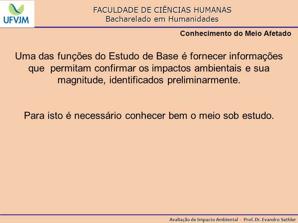FACULDADE DE CIÊNCIAS HUMANAS Bacharelado em Humanidades Avaliação de Impacto Ambiental - Prof. Dr. Evandro Sathler Conhecimento do Meio Afetado Uma d