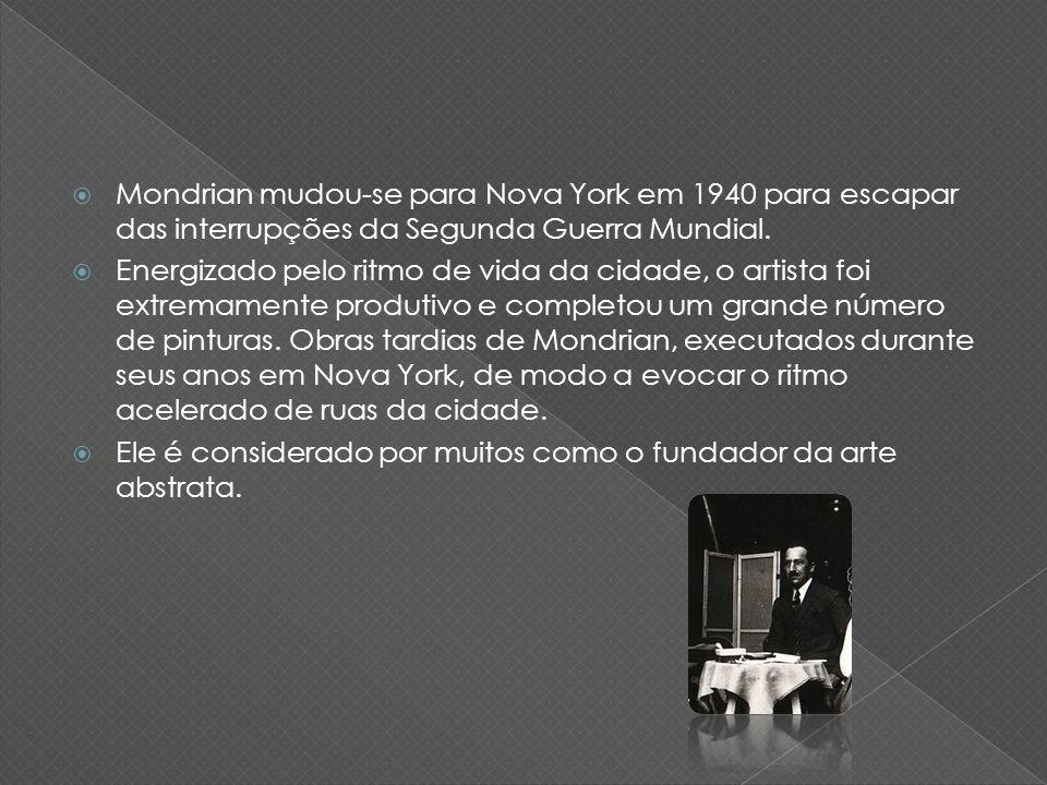 Mondrian mudou-se para Nova York em 1940 para escapar das interrupções da Segunda Guerra Mundial. Energizado pelo ritmo de vida da cidade, o artista f