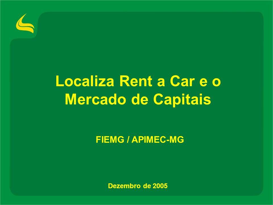 Destaques do histórico Fundada em 1973 com uma frota de 6 fuscas usados Inícia a expansão geográfica Fundada em 1973 com uma frota de 6 fuscas usados Inícia a expansão geográfica 70s 80s 90s 00s Intensiva expansão geográfica Em 1981, já era a maior empresa de aluguel de carros no Brasil por número de agencias Em 1983, inicia suas atividades de franchising no Brasil Intensiva expansão geográfica Em 1981, já era a maior empresa de aluguel de carros no Brasil por número de agencias Em 1983, inicia suas atividades de franchising no Brasil Inicia operação de venda de carros usados ao consumidor final Expande o franchising para outros países da América Latina Em 1997, DLJ private equity adquire 33,3% da Companhia Ainda em 1997, emite US$100 milhões em Senior Notes Cria empresa especializada em gestão de frotas Inicia operação de venda de carros usados ao consumidor final Expande o franchising para outros países da América Latina Em 1997, DLJ private equity adquire 33,3% da Companhia Ainda em 1997, emite US$100 milhões em Senior Notes Cria empresa especializada em gestão de frotas Consolida sua plataforma e modelo de negócios Atinge vendas de mais de R$600 mi e EBITDA de mais de R$200 mi Oferta Pública de Debêntures de R$350 milhões Oferta Pública Inicial - Bovespa/ Novo Mercado Consolida sua plataforma e modelo de negócios Atinge vendas de mais de R$600 mi e EBITDA de mais de R$200 mi Oferta Pública de Debêntures de R$350 milhões Oferta Pública Inicial - Bovespa/ Novo Mercado 7 7 283 (1) No fim da década de 70 e em 30 de setembro de 2005 No de Agências (1) Leasing Private Equity Senior Notes Debêntures Oferta Pública