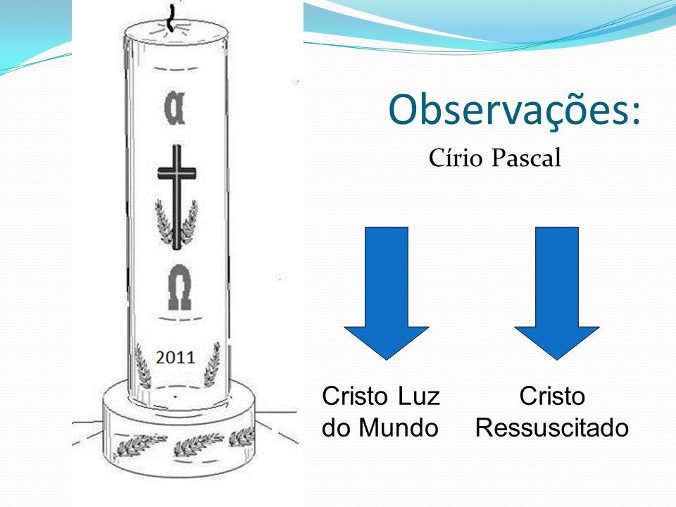 Observações: Círio Pascal Cristo Luz do Mundo Cristo Ressuscitado