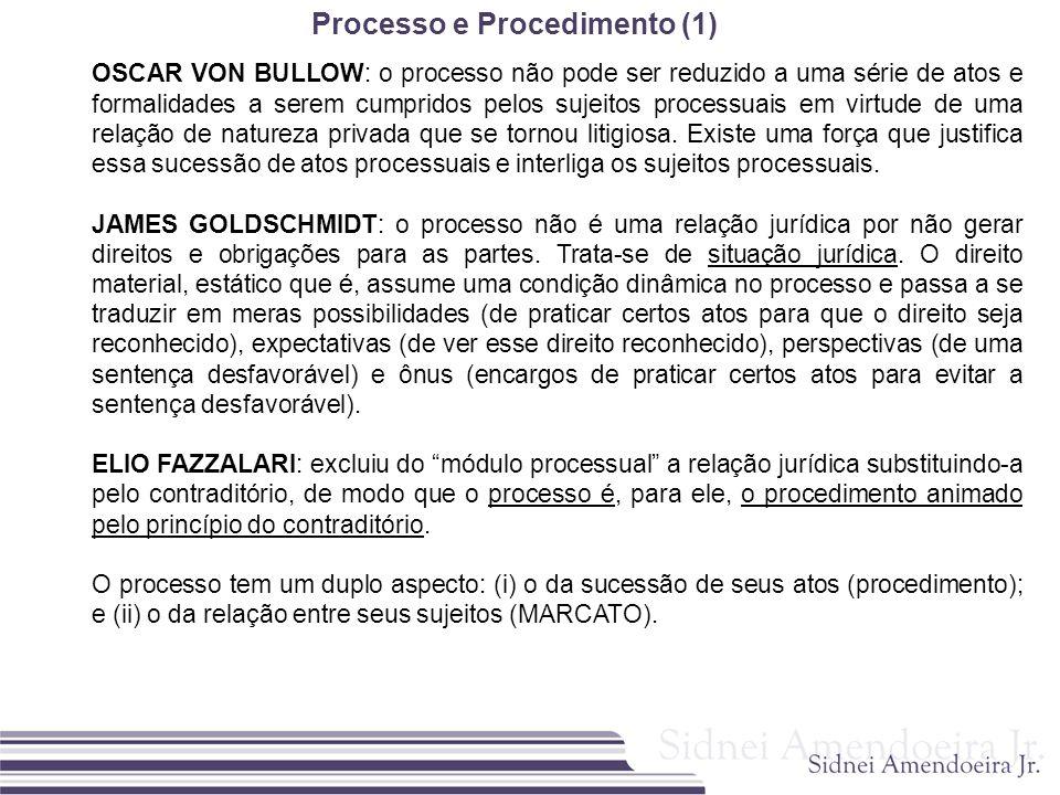 Processo e Procedimento (1) OSCAR VON BULLOW: o processo não pode ser reduzido a uma série de atos e formalidades a serem cumpridos pelos sujeitos pro