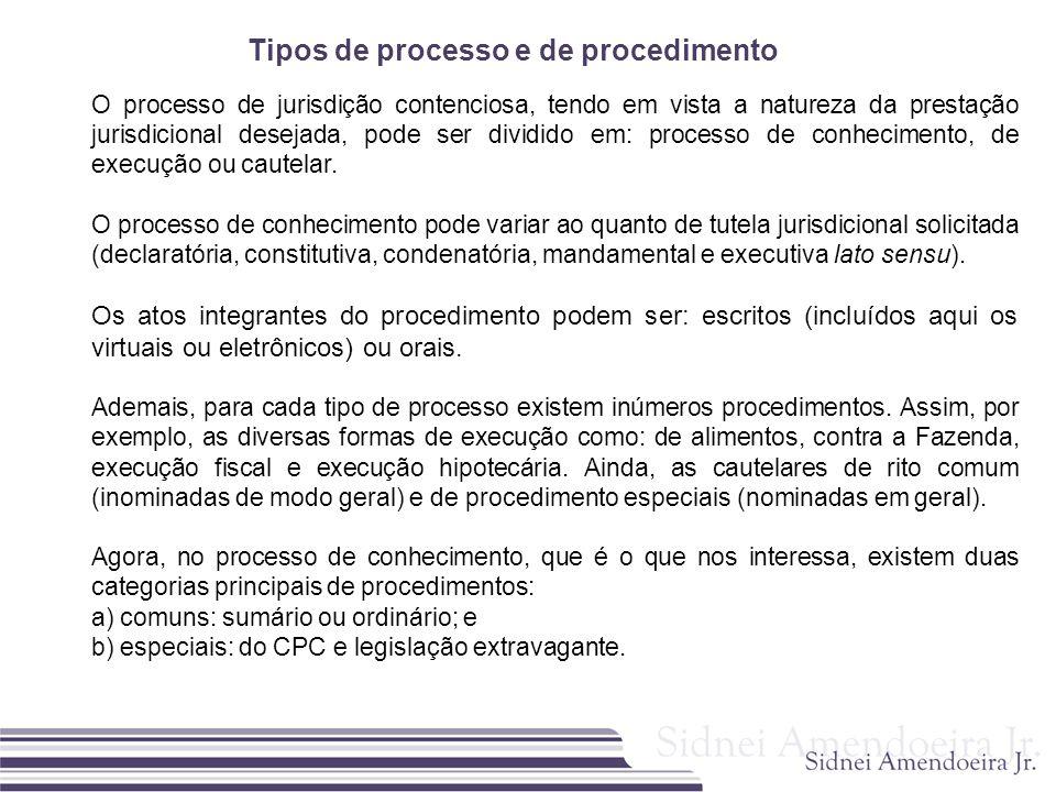 Tipos de processo e de procedimento O processo de jurisdição contenciosa, tendo em vista a natureza da prestação jurisdicional desejada, pode ser divi