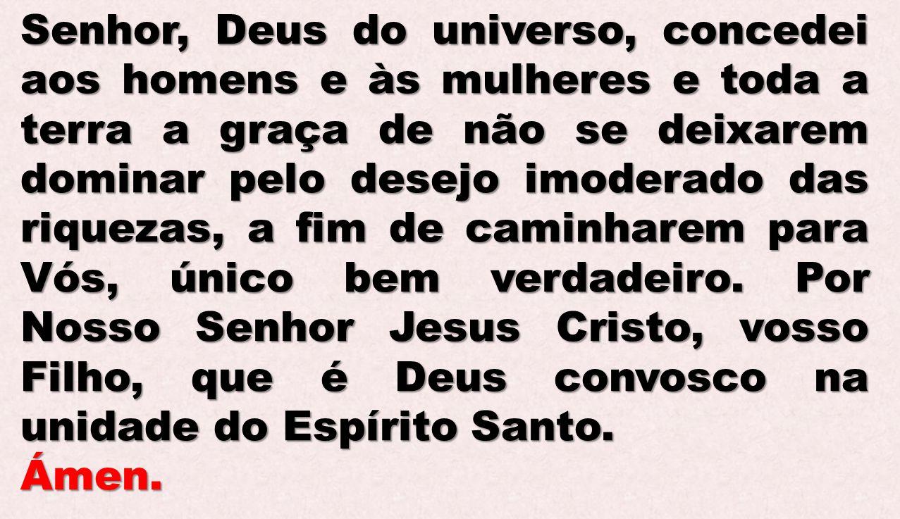 Senhor, Deus do universo, concedei aos homens e às mulheres e toda a terra a graça de não se deixarem dominar pelo desejo imoderado das riquezas, a fi