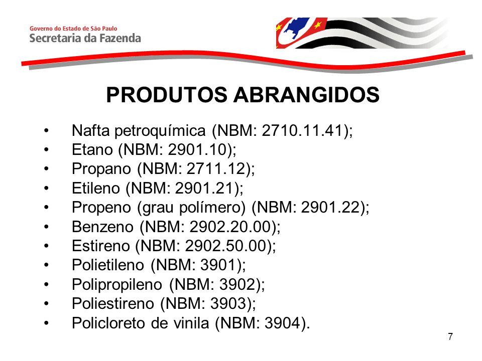 7 PRODUTOS ABRANGIDOS Nafta petroquímica (NBM: 2710.11.41); Etano (NBM: 2901.10); Propano (NBM: 2711.12); Etileno (NBM: 2901.21); Propeno (grau polímero) (NBM: 2901.22); Benzeno (NBM: 2902.20.00); Estireno (NBM: 2902.50.00); Polietileno (NBM: 3901); Polipropileno (NBM: 3902); Poliestireno (NBM: 3903); Policloreto de vinila (NBM: 3904).