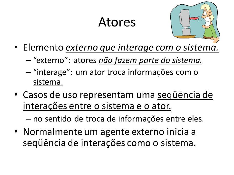 Atores Elemento externo que interage com o sistema. – externo: atores não fazem parte do sistema. – interage: um ator troca informações com o sistema.