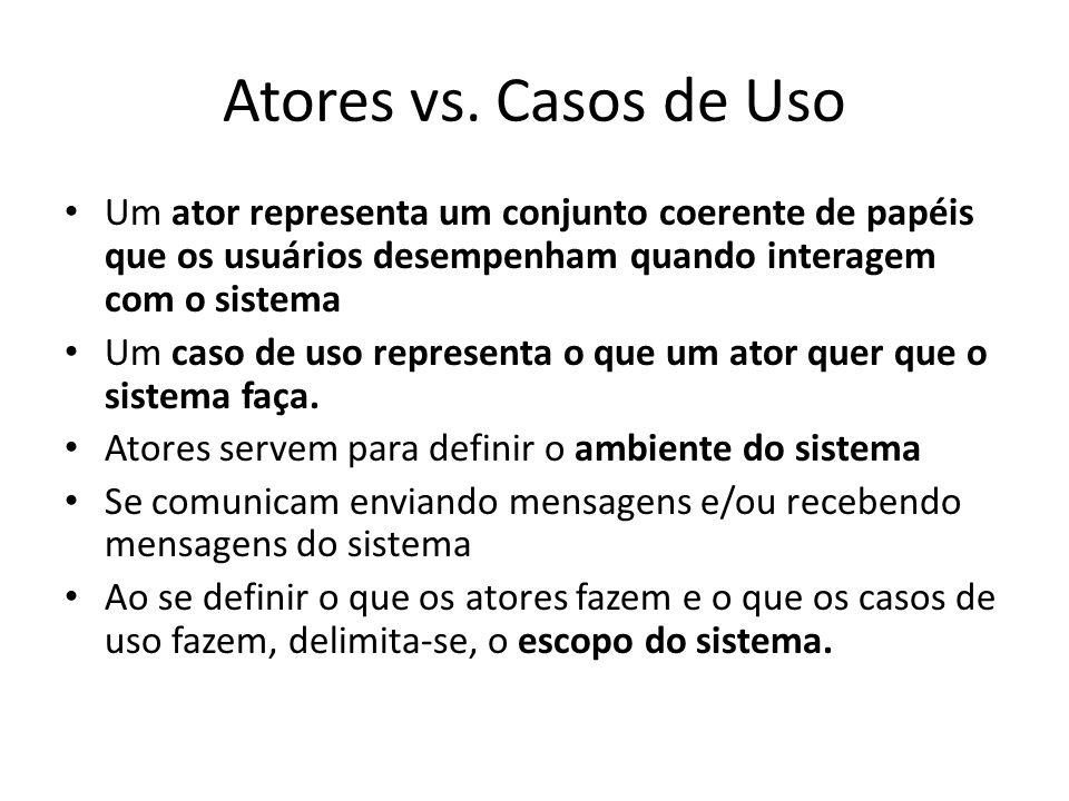 Atores vs. Casos de Uso Um ator representa um conjunto coerente de papéis que os usuários desempenham quando interagem com o sistema Um caso de uso re